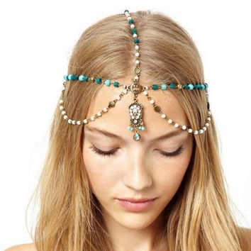 Boho Handmade Rhinestone Blue Beads Pearl Gold Head Chain Headband Headpiece Hair band Hair Jewelry