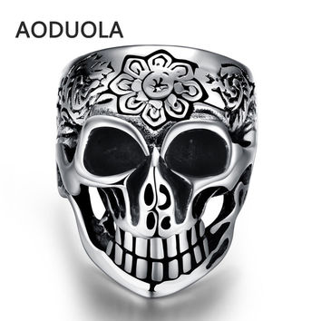 Stainless Steel Skull with Flower Punk Ring Retro Vintage Biker Large Antique Black Men's Rings For Seal men Rock mens Jewelry