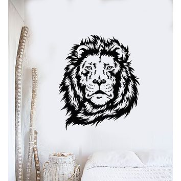 Vinyl Wall Decal Lion Predator Animal King Head Tribal Stickers Mural (g1387)
