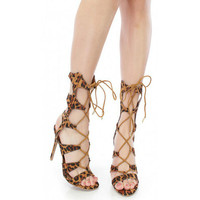Shoe Republic LA Open Toe Lace-up Heels