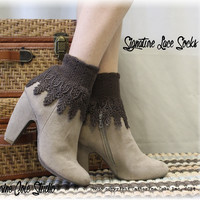 Lace sock, ladies lace socks, short boot socks, victorian, boot lace socks, sock with lace, Signature Lace Sock Chocolate Brown | SLC2