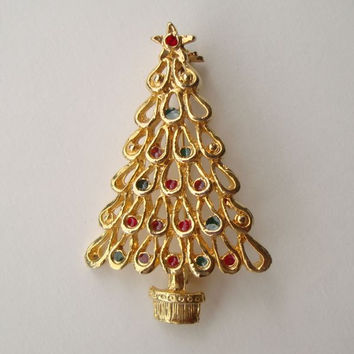 "Christmas Tree Pin Goldtone w Enamel 'Ornaments"" Red Green Blue Holiday Jewelry"