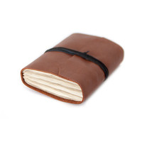 Recycled leather journal diary notebook mini cahier chapbook blank altered pages - rustic brown cinnamon carmel