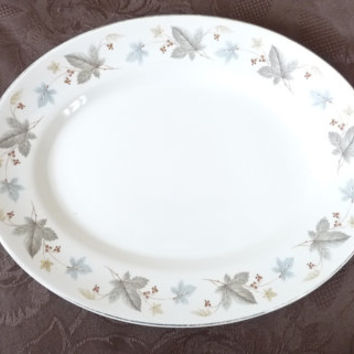Oval Plate, Ridgeway, White Mist, Staffordshire, England, serving, steak, Crockery, 1960's, china, tableware