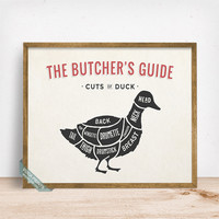 Butchers Guide Duck Print, Duck Poster, Cuts Of Duck, Kitchen Decor, Duck Cuts, Butcher Print, Duck Print, Wall Decor, Fathers Day Gift