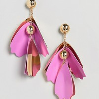 ASOS Statement Colour Metal Petal Earrings at asos.com