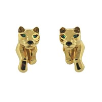 Cartier Panthere Gold Emerald Earrings