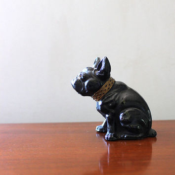 Little black Frenchie. Vintage bull dog figurine.