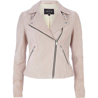 Light pink suede biker jacket - leather / leather look jackets - coats / jackets - women