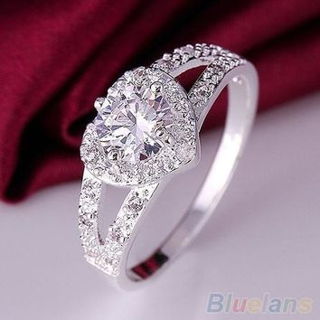 Silver Plated Crystal Heart Shaped Love Wedding Ring