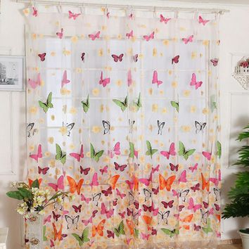 Butterfly Print Sheer curtains window curtain living room glass beads curtains cortinas para dormitorio