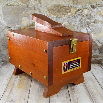 Vintage Esquire Redwood Shoe Shine Box