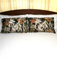 Camo Pillow Case with White Snuggling Buck Doe