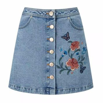 Floral Button Down Denim Skirt