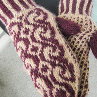 Hand knitted wool mittens, brown and wine red mittens, wool gloves, winter accessories, autumn accessories,