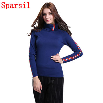 Sparsil Women Autumn Striped Design Cashmere Blend Thin Pullover Sweater Turtleneck Long Sleeve Knitted Sweaters