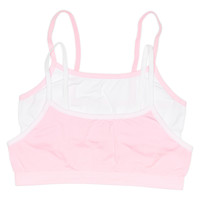 Girls 2-Pack Seamless Performance Crop Bra (White/Pink)