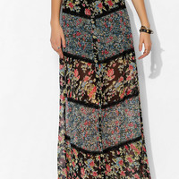 Band Of Gypsies Lace-Inset Print-Mix Maxi Skirt - Urban Outfitters