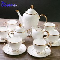 DCCKJG2 Special Offer Quality  Coffee & Tea Sets  Bone-China  15 Piece Drinkware British Gold Inlaid White Ceramics Cups