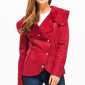 Red Velvet Faux Suede Button Up Jacket