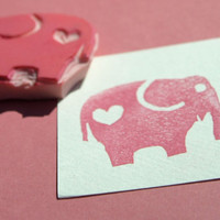 Elephant Heart Rubber Stamp Hand Carved Embellishment by PoshBinky