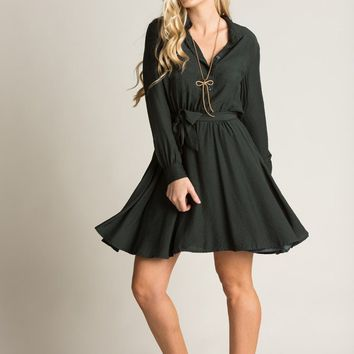 Maddy Olive Longsleeve Button Up Dress