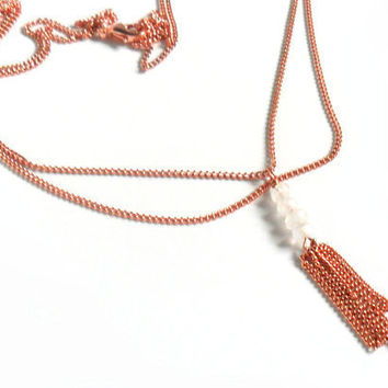 Necklace dainty double chain pure copper tassel by Daniblu on Etsy