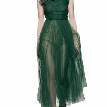 Green Ruffle Sleeveless Tie Neck Ruched Tulle Maxi Dress