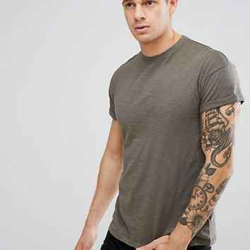 New Look T-Shirt With Rolled Sleeves In Khaki at asos.com