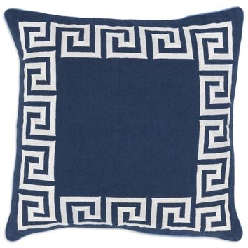 Navy Greek Key Pillow