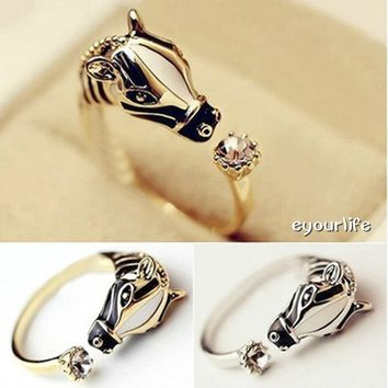 Eyourlife Fashion Jewelry Unique Design Horse Head Adjustable Rings Animal Rings Silver/Gold