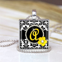 Initial Squares Glass Pendant, Initial Necklace, Initial Charm, Initial Jewelry, Yellow Modern  Pendant , Black and Yellow Charm