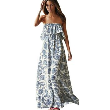 Women Sexy Off Shoulder Long Maxi Dress BOHO Style Off the Shoulder Floral Print Evening Beach Dresses Sundress Plus Size
