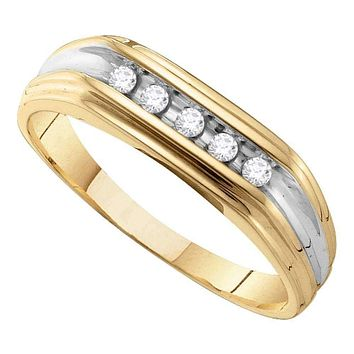 10kt Yellow Gold Men's Round Diamond Single Row Two-tone Wedding Band Ring 1/8 Cttw - FREE Shipping (US/CAN)