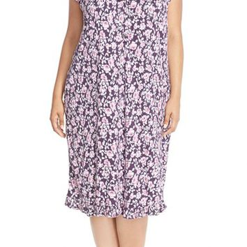 Plus Size Women's Eileen West 'Autumn Rose' Floral Print Short Nightgown,