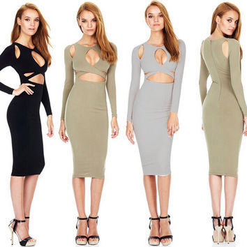 Long Sleeve Cutout Bodycon Midi Dress