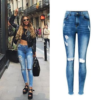Women's High Waist Stretchable Cotton Washed Holes Jeans