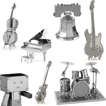 3D Metal Puzzles for children Adults Model Toys Metal Drum Set Piano Cello Guitar Danboard Jigsaw Metal puzzles educational toys