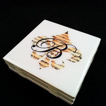 Personalized Custom Sheet Music Print Fleur De Lis Inital Ceramic Tile Coasters Set of 4