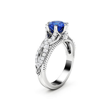 Blue Sapphire Engagement Ring 1.5 Carat Ring 14K White Gold Ring Vintage Milgrain Ring
