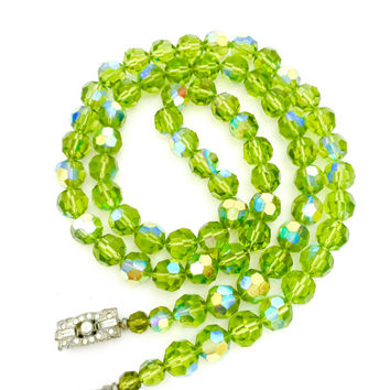 Olivine Glass Crystal Necklace, Iridescent Crystals, Art Deco Design Baguette & Round Ice Rhinestone Silver Tone Box Clasp, Mid Century