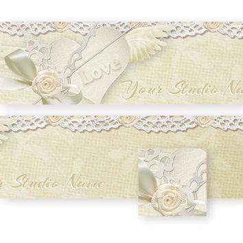 White Lace Banner Avatar Set - Wedding - Special day - Heart - Love -Bride - Groom - Ribbon - Beautiful - Fancy - Frilly