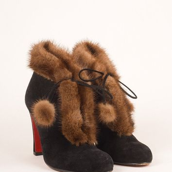 CREYU2C Black and Brown Fur Trim Suede Leather Laced Ankle Booties
