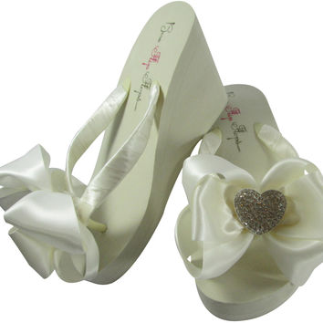 Heart Flip Flops on Ivory or White Wedges with Bows