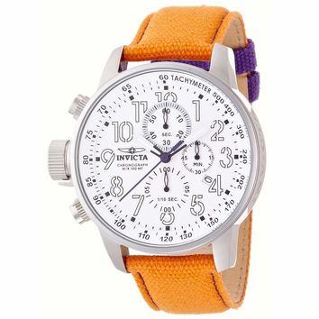 Invicta 12073 Men's I-Force Lefty Silver Dial Orange Fabric & Leather Strap Chronograph Watch