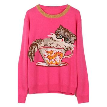 Knitted Pullover Cat Dragon Jacquard Winter Sweater