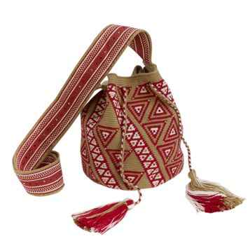 Ekki Medium Wayuu Swarovski Bag - Beige