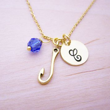 Fishing Hook Necklace - Gold Initial Necklace - Birthstone Necklace - Gold Initial Necklace - Personalized Necklace - Fishing Charm