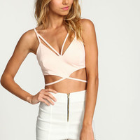 BLUSH STRAPPY TIED BUSTIER TOP