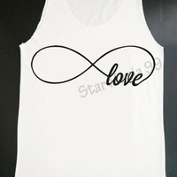 Infinity Love Tank Forever Love Tank Top Infinity Shirt  Hipster Tank Women White T Shirt Tunic Top Vest Sleeveless Women T-Shirt Size S,M,L